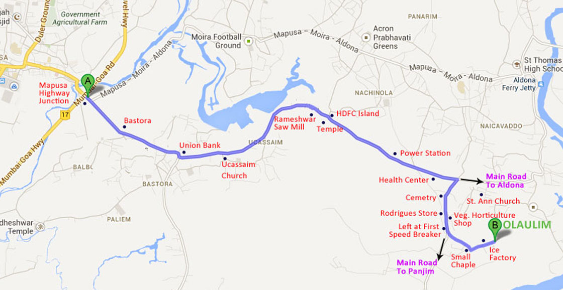 Road Map From Mapusa To Belgaum